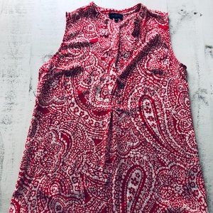The Limited Red/Coral Paisley Sleeveless V-Neck, S